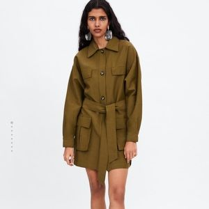 Zara khaki jacket with pockets
